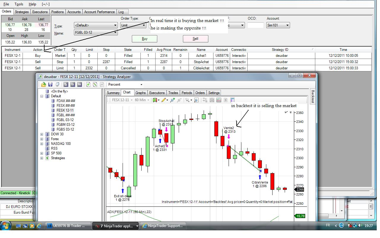 difference between the realtime and the backtest - NinjaTrader